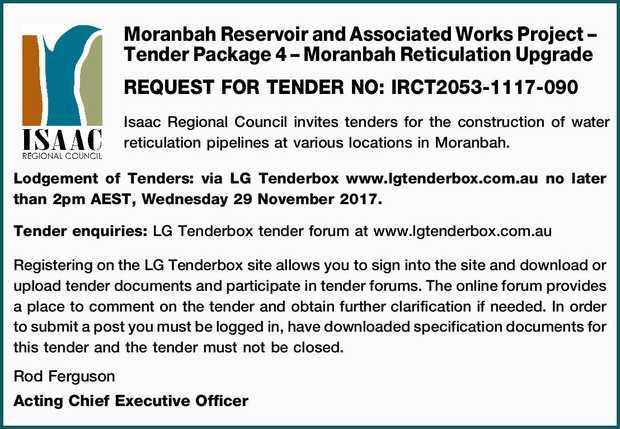 Moranbah Reservoir and Associated Works Project – Tender Package 4 – Moranbah Reticul...