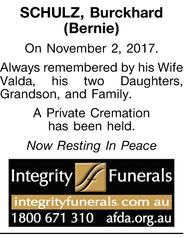 SCHULZ, Burckhard (Bernie)   On November 2, 2017.   Always remembered by his Wife Valda,...