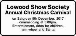 Lowood Show Society Annual Christmas Carnival on Saturday 9th December, 2017 commencing at 5:00pm...