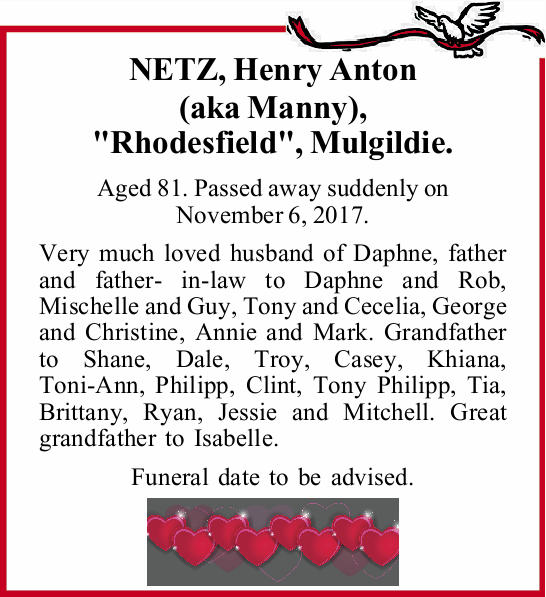 . Aged 81. Passed away suddenly on November 6, 2017.   Very much loved husband of Daphne, fat...