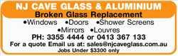 NJ CAVE GLASS & ALUMINIUM    Broken Glass Replacement   -Windows   -Doors   -...