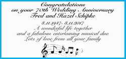 Congratulations on your 70th Wedding Anniversary Fred and Hazel Schipke 8.11.1947- 8.1 l1.2017 A...