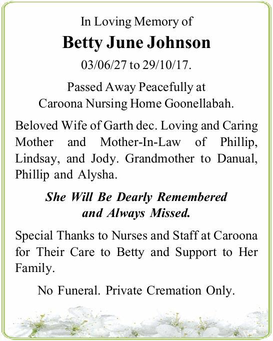 03/06/27 to 29/10/17.   Passed Away Peacefully at Caroona Nursing Home Goonellabah.  ...