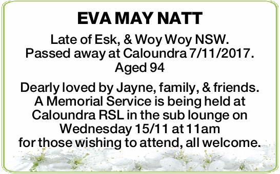 Late of Esk, & Woy Woy NSW.