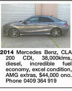 2014 Mercedes Benz, CLA 200 CDI, 38,000klms, diesel, incredible fuel economy, excel condition, AM...