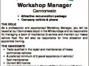 Workshop Manager Cannonvale