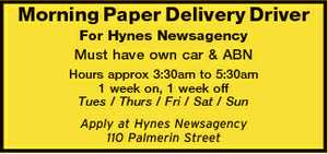 Morning Paper Delivery Driver For Hynes Newsagency Must have own car & ABN Hours approx 3:30am to 5:30am 1 week on, 1 week off Tues / Thurs / Fri / Sat / Sun Apply at Hynes Newsagency 110 Palmerin Street