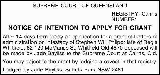 NUMBER: NOTICE OF INTENTION TO APPLY FOR GRANT After 14 days from today an application for...