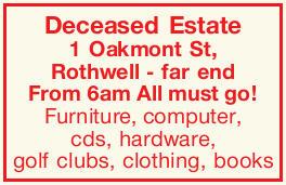 Deceased Estate    1 Oakmont St, Rothwell - far end   From 6am Allmustgo!   Furniture...