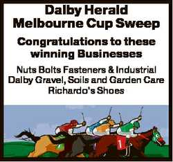 Dalby Herald Melbourne Cup Sweep Congratulations to these winning Businesses Nuts Bolts Fasteners &a...