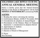 SOLANDER LAKE BOWLS CLUB INC.