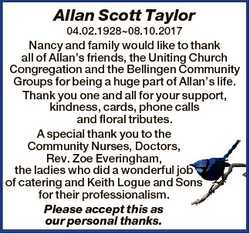 Allan Scott Taylor 04.02.192808.10.2017 Nancy and family would like to thank all of Allan's frie...