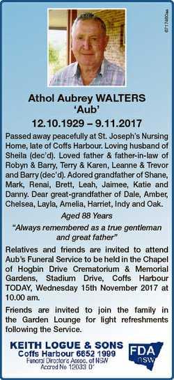 6717460aa Athol Aubrey WALTERS `Aub' 12.10.1929 - 9.11.2017 Passed away peacefully at St. Joseph...