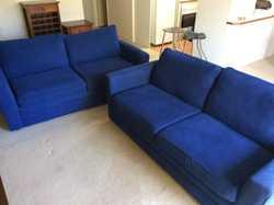 2 x 2.5 seater blue sofas