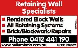 Rendered Block Walls All Retaining Systems Brick/Blockwork/Repairs Phone 0412 441 190 www.betterbloc...