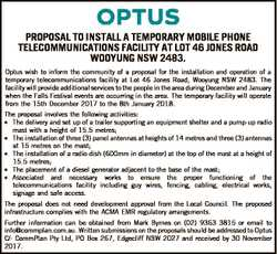 PROPOSAL TO INSTALL A TEMPORARY MOBILE PHONE TELECOMMUNICATIONS FACILITY AT LOT 46 JONES ROAD WOOYUN...