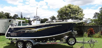 TRAILCRAFT BOAT 2007, alum, 5.1m, 90hp Suzuki 4 stroke, FMS trailer, 120L fuel tank, kill & b...