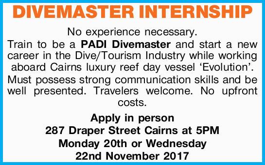 DIVEMASTER INTERNSHIP   No experience necessary. Train to be a PADI Divemaster and start a ne...