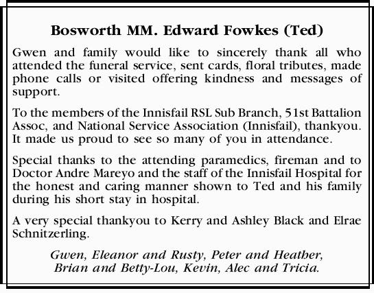 Bosworth MM. Edward Fowkes (Ted) Gwen and family would like to sincerely thank all who attended t...