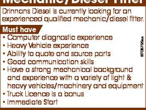 Mechanic/Diesel Fitter 6708755aa Drinnans Diesel is currently looking for an experienced qualified mechanic/diesel fitter. Must have * Computer diagnostic experience * Heavy Vehicle experience * Ability to quote and source parts * Good communication skills * Have a strong mechanical background and experience with a variety of light & heavy vehicles/machinery and equipment ...