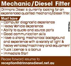 Mechanic/Diesel Fitter 6708755aa Drinnans Diesel is currently looking for an experienced qualified m...