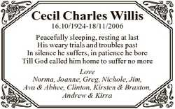 Cecil Charles Willis 16.10/1924-18/11/2006 Peacefully sleeping, resting at last His weary trials and...