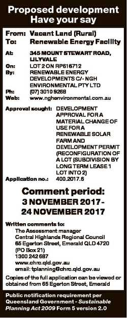 Proposed development Have your say From: Vacant Land (Rural) To: Renewable Energy Facility At: On: B...