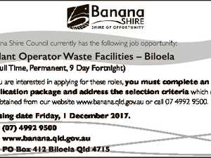 Banana Shire Council currently has the following job opportunity: * Plant Operator Waste Facilities - Biloela (Full Permanent, (F ll Time, Ti P 9 Day D Fortnight) F i h) If you are interested in applying for these roles, you must complete an application package and address the selection criteria which can ...