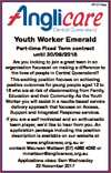 6719114aa Youth Worker Emerald Part-time Fixed Term contract until 30/09/2018 Are you looking to join a great team in an organisation focussed on making a difference to the lives of people in Central Queensland? This exciting position focuses on achieving positive outcomes for young people aged 12 to ...