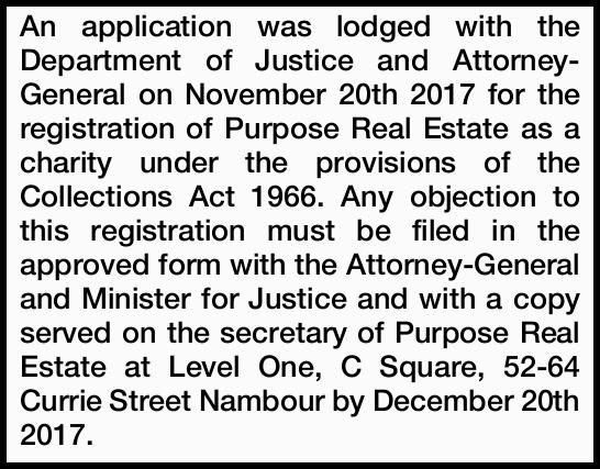 An application was lodged with the Department of Justice and Attorney-General on November 20th 20...