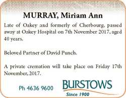 MURRAY, Miriam Ann Late of Oakey and formerly of Cherbourg, passed away at Oakey Hospital on 7th Nov...