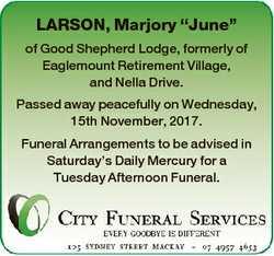 """LARSON, Marjory """"June"""" of Good Shepherd Lodge, formerly of Eaglemount Retirement Village,..."""