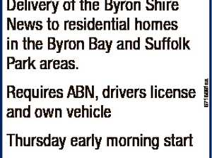 Contractor Wanted Requires ABN, drivers license and own vehicle Thursday early morning start Please call Kellie Creighton on 0407 731 832 for more details ByronShireNews 6718691aa Delivery of the Byron Shire News to residential homes in the Byron Bay and Suffolk Park areas.