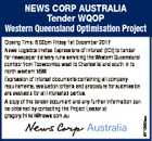 Closing Time: 6.00pm Friday 1st December 2017 News Logistics invites Expressions of Interest (EOI) to tender for newspaper delivery runs servicing the Western Queensland corridor from Toowoomba west to Charleville and south in to north western NSW. Expression of Interest documents containing all company requirements, evaluation criteria and procedure ...