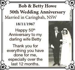 Married in Caringbah, NSW 18/11/1967 Happy 50th Anniversary to my darling wife Betty Thank you for e...