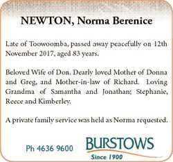 NEWTON, Norma Berenice Late of Toowoomba, passed away peacefully on 12th November 2017, aged 83 year...