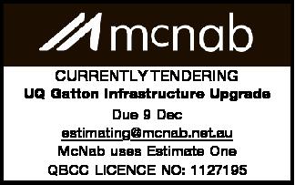 UQ Gatton Infrastructure Upgrade Due 9 Dec estimating@mcnab.net.au   McNab uses Estimate One...