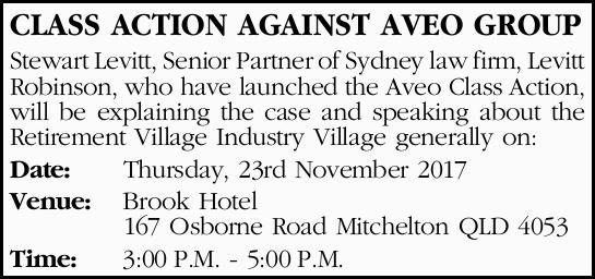 CLASS ACTION AGAINST AVEO GROUP Stewart Levitt, Senior Partner of Sydney law firm, Levitt Robinso...