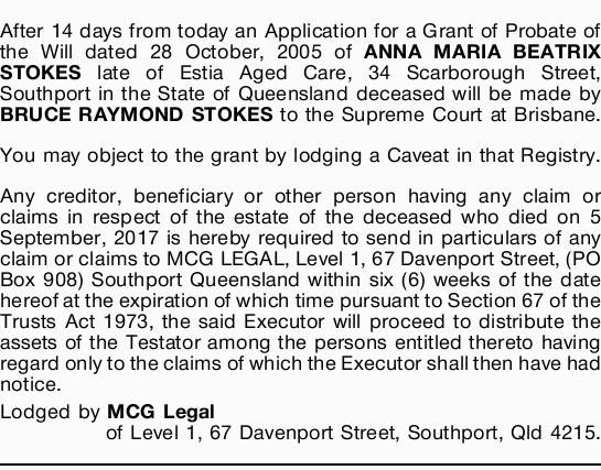 After 14 days from today an Application for a Grant of Probate of the Will dated 28 October, 2005...