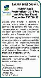 BANANA SHIRE COUNCIL - NDRRA Road Restoration – 2016 Feb Wet Weather Event