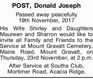 Passed away peacefully 19th November, 2017