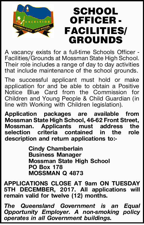 SCHOOL OFFICER - FACILITIES/GROUNDS   A vacancy exists for a full-time Schools Officer &ndash...