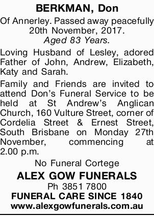 BIRKMAN, Don Of Annerley. Passed away peacefully 20th November, 2017. Aged 83 Years. Loving Husba...