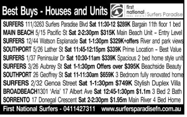 Best Buys - Houses and Units SURFERS 111/3263 Surfers Paradise Blvd Sat 11:30-12 $289K Bargain 11...