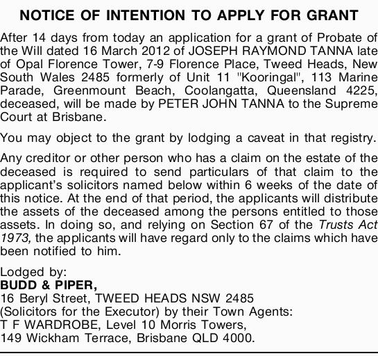 Browsing notices nsw qld classifieds tweed daily news notice of intention to apply for grant after 14 days from today an application for a solutioingenieria Gallery
