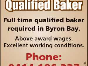 Qualified Baker Full time qualified baker required in Byron Bay. Phone: 0414 186 337 6718907aa Above award wages. Excellent working conditions.