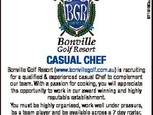 6719160aa Casual Chef Bonville Golf Resort (www.bonvillegolf.com.au) is recruiting for a qualified & experienced casual Chef to complement our team. With a passion for cooking, you will appreciate the opportunity to work in our award winning and highly reputable establishment. You must be highly organised, work well under ...