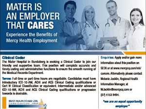 MATER IS An EMployER ThAT Cares Clinical Coder The Mater Hospital in Bundaberg is seeking a Clinical Coder to join our friendly and supportive team. This position will complete accurate and timely coding and administrative functions to ensure the smooth running of the Medical Records Department. Terms: Full-time or part-time ...