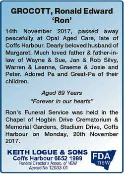 GROCOTT, Ronald Edward `Ron' 14th November 2017, passed away peacefully at Opal Aged Care, late...