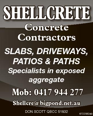 <p> Concrete Contractors </p> <p> SLABS, DRIVEWAYS, PATIOS & PATHS </p> <p> Specialists...</p>